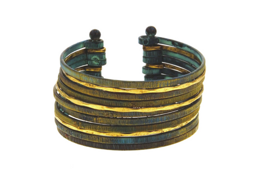 Multi Piece Patina Bangle Cuff Bracelet