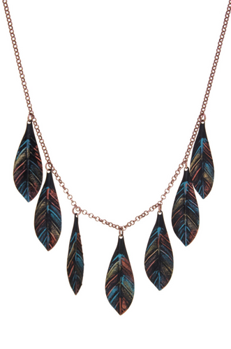 Multi Leaf Patina Finish Necklace