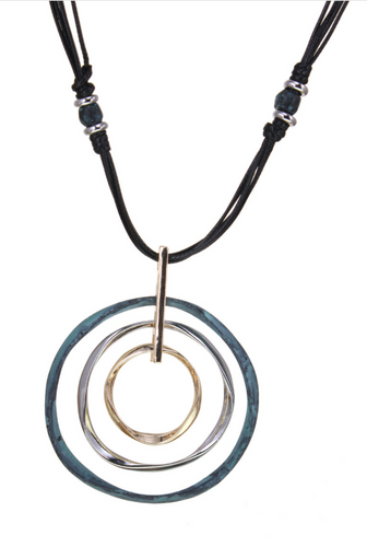 Mixed Metal Ring Pendant Necklace