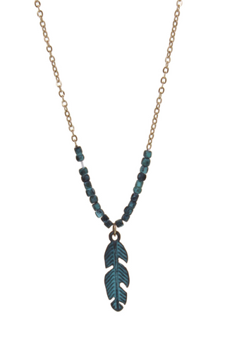 Patina Feather w/Beads Necklace