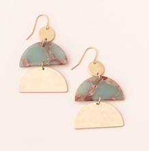 Load image into Gallery viewer, Scout Half-Moon Earrings Aqua Terra/Gold
