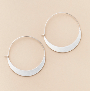 Silver Crescent Hoop Wire Earring
