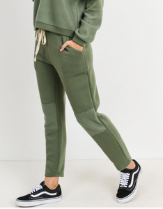 Green Fleece Jogger Pants