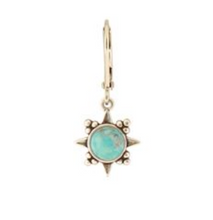 Load image into Gallery viewer, Pale Teal Sunburst Stone Earring