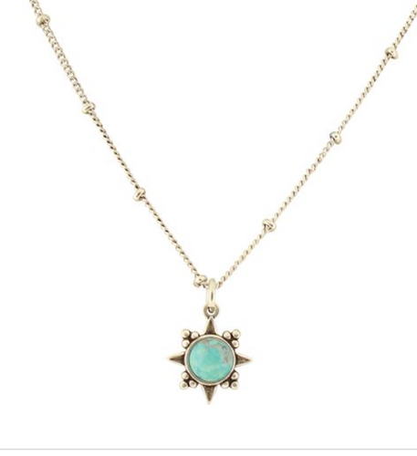 Sunburst Stone Necklace Asst
