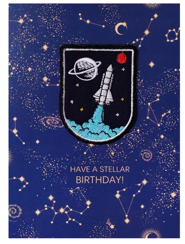 Spaceship Patch Birthday Card