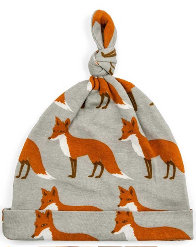 Orange Fox Bamboo Knotted Baby Hat
