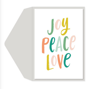 Joy, Peace, Love - Glitter Card