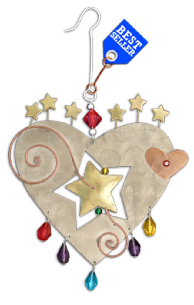 Starburst Heart Metal Ornament