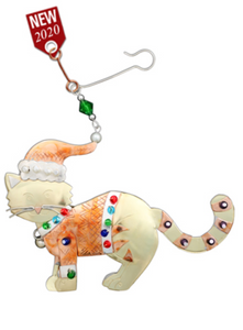 Festive Cat Metal Ornament