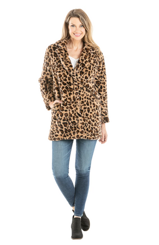 Brown Leopard Faux Fur Jacket