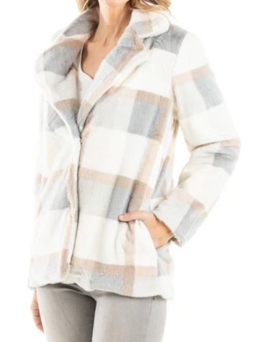 Blue Cream Plaid Faux Fur Jacket