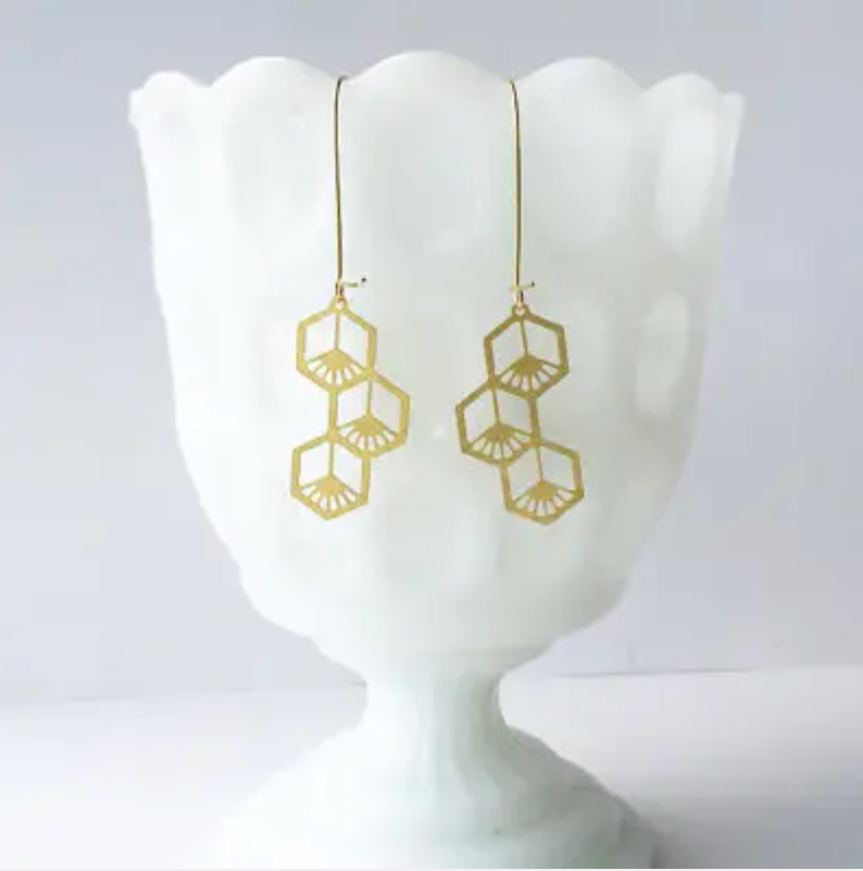 Art Deco Hexogons Earrings - Brass