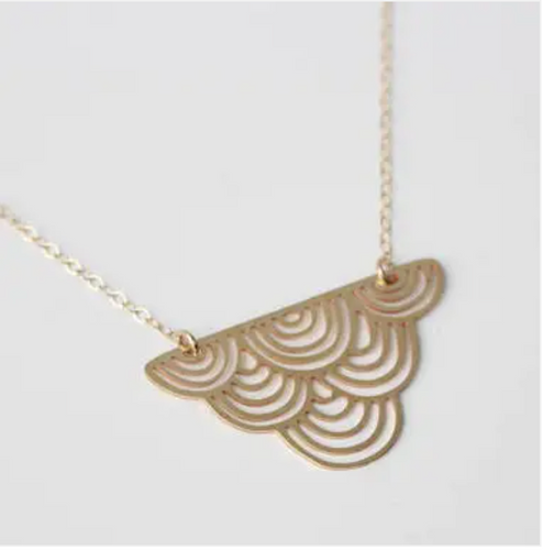Striped Cloud Necklace - Brass