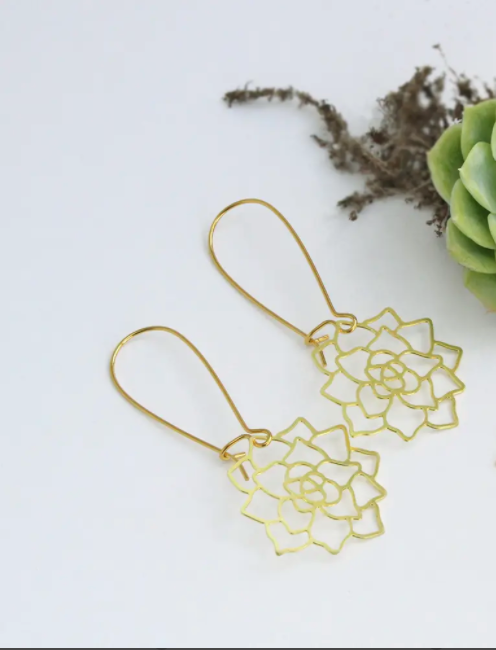 Succulent Earrings - Brass
