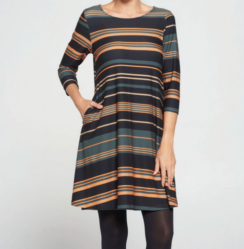 Green Stripe Dress with Pockets