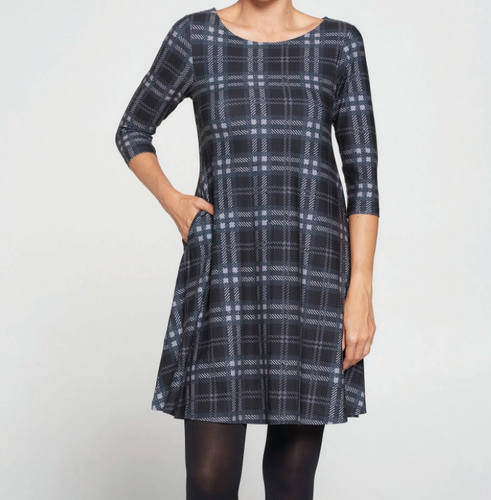 Black Plaid Dress with Pockets