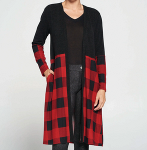 Buffalo Plaid Blocked Cardigan 2XL/3XL