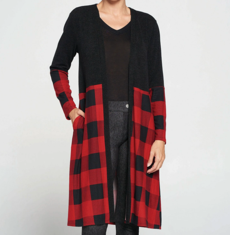 Buffalo Plaid Blocked Cardigan S/M