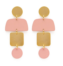 Load image into Gallery viewer, Geometric Stacked Earrings in Blush