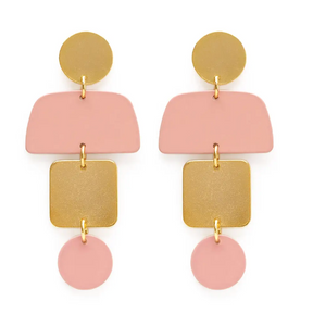 Geometric Stacked Earrings in Blush