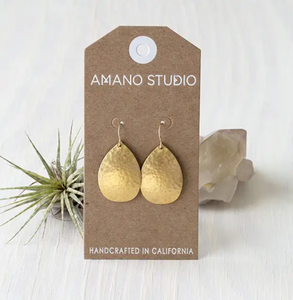 Gold Hammered Teardrops