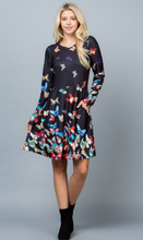 Load image into Gallery viewer, Black Multi Butterfly Sweater Dress Medi