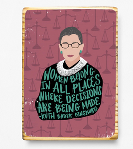 RBG Quote - Wood Art Block