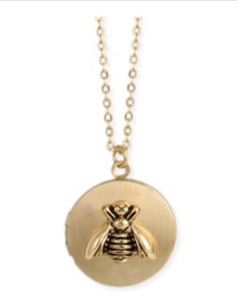 Gold Bee Charm Locket Necklace