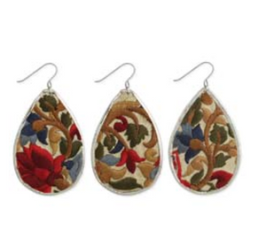 Floral Fabric Teardrop Earring Red