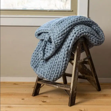 Load image into Gallery viewer, Chunky Knit Throw Blue