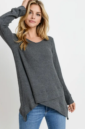 Grey Long Sleeve Waffle Top