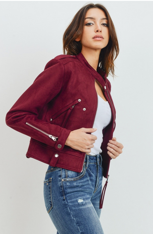 Burgundy Faux Suede Zip Jacket