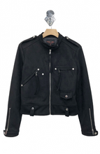 Load image into Gallery viewer, Black Faux Suede Zip Jacket