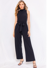 Load image into Gallery viewer, Black Sleeveless Mock Neck Jumpsuit