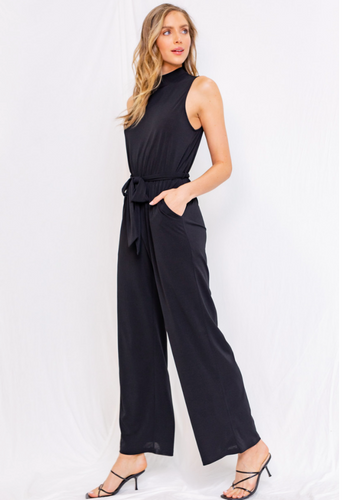 Black Sleeveless Mock Neck Jumpsuit