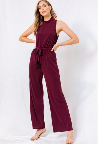 Wine Sleeveless Mock Neck Jumpsuit