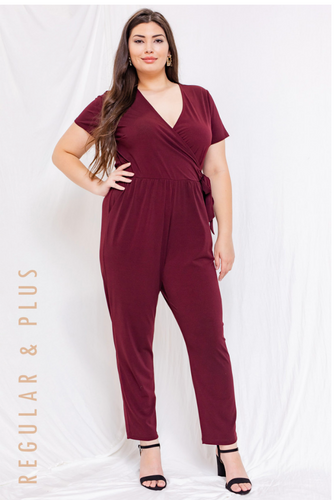 Wine Short Sleeve Jumpsuit - Plus