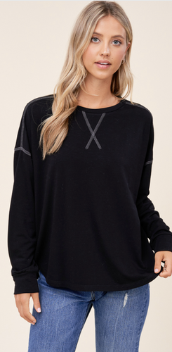 Black Long Sleeve Stitched Top