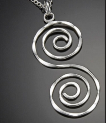 Silver Double Spiral Pendant Necklace