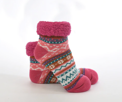 Dark Pink Womens Lined Footie Socks