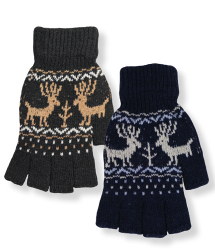 Men's Deer Pattern Fingerless Gloves