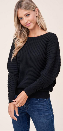Black Full Sleeve Ribbed Sweater