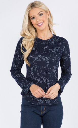 Black Cat Print Knit Top
