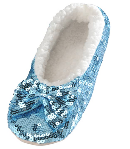 Blue Bling Sequin Slippers