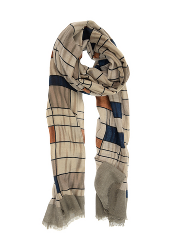 Mondrian Inspired Scarf Taupe
