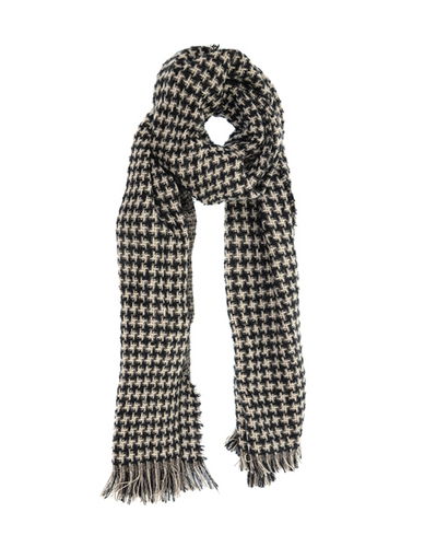 Woven Houndstooth Scarf Black