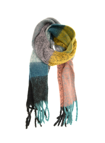 Speckled Colorblock Scarf Mustard