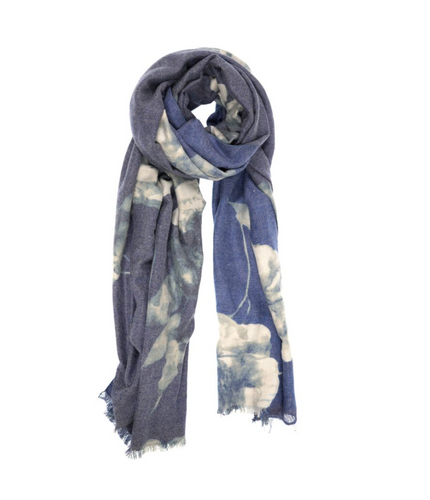 Luxurious Bloom Scarf Blue
