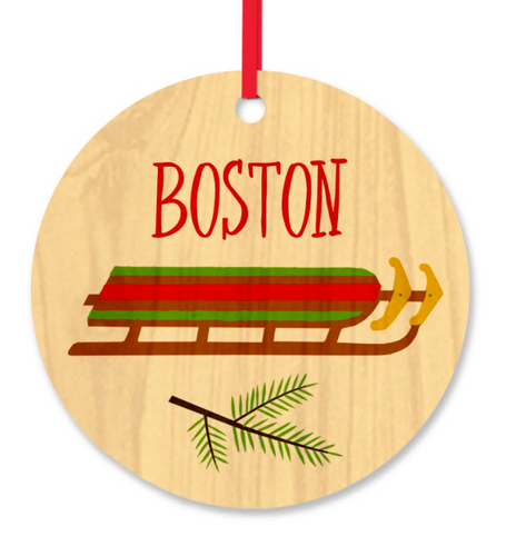 Boston Sled Wood Ornament
